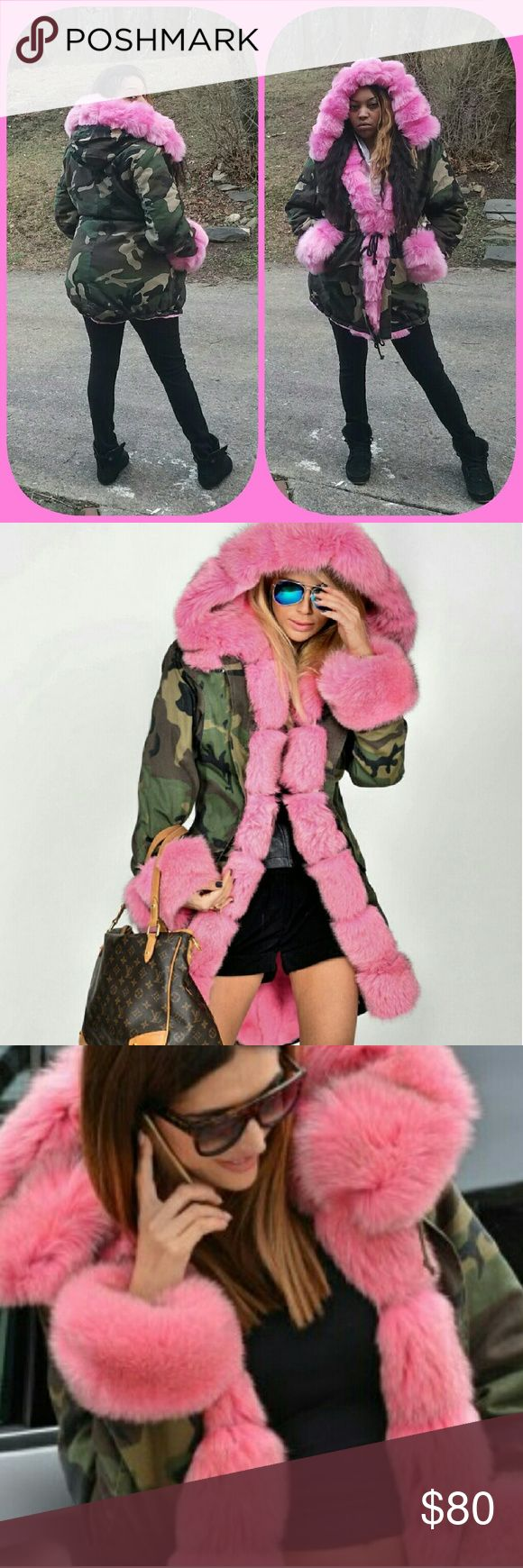 Camouflage Coat with Pink Faux Fur XXXL (3XL/16) I just bought this coat & the wrong size was sent to me! This is brand new with tags! Has draw-strings at the waist & bottom for that feminine look! Full fur on the interior! It's super warm, soft, & cozy!   *Rose Pink Quilted Padded, with Faux Fur Hood. Warm Thick Women's Camouflage Jacket/Parka Overcoat*     Jackets & Coats