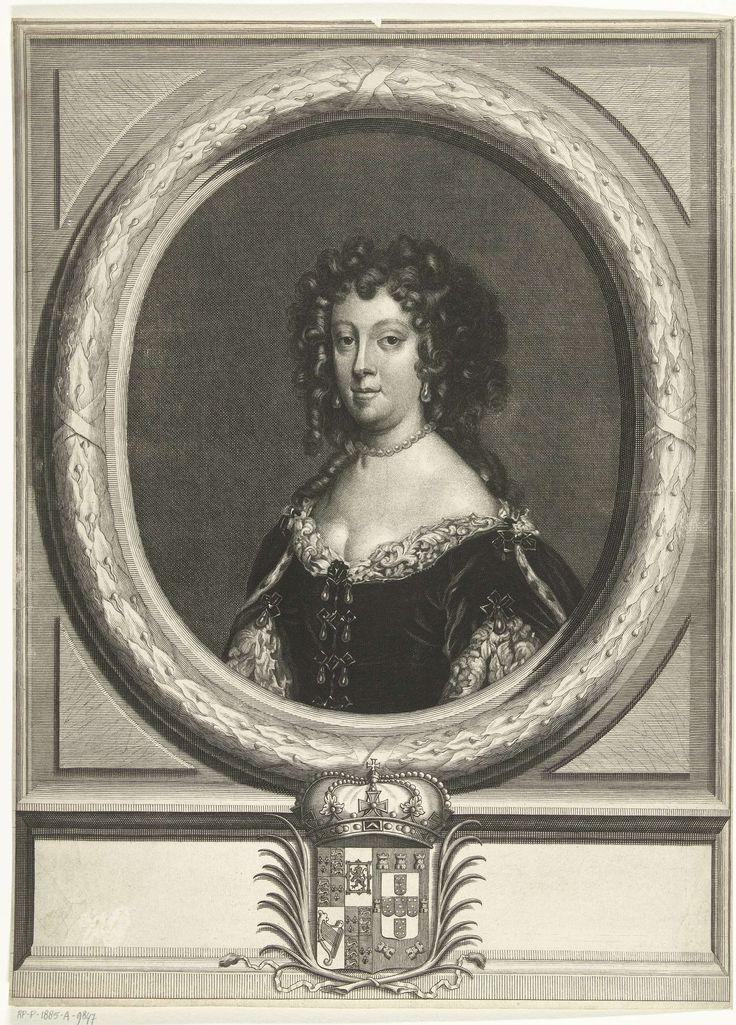 Portret van Catharina van Braganza, koningin van Engeland, Abraham de Blois, David van der Plas, 1679 - 1717