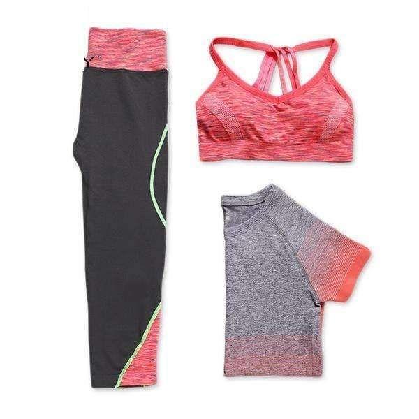 New women 3 pcs yoga set (shirt+pants+bra) jogging suits fitness gym tracksuit dry sports suit