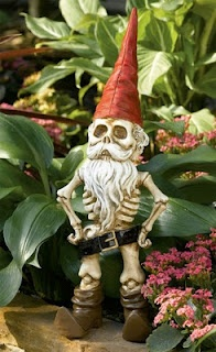 Midnight in the Garden of Evil: The Skeleton Gnome  I want this in my garden, next to the life size jack skellington!!