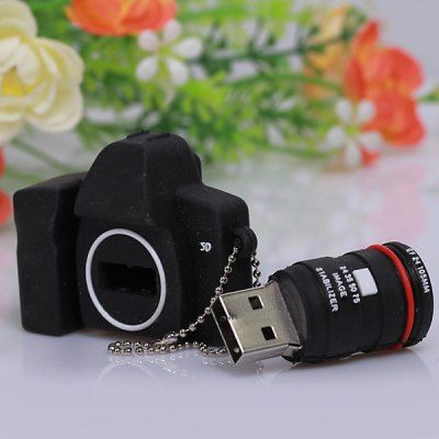 8GB Stylish Cute SLR Camera Shape Silicon Protection U Disk USB Flash Drives Memory -Black #CLICK! #clothing, #shoes, #jewelry, #women, #men, #hats
