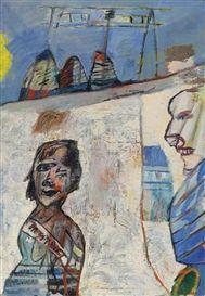 Artwork by Lucebert, Miss twist met lid van de jury, Made of oil on canvas