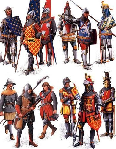 French and English warrior, from Hundred Years' War