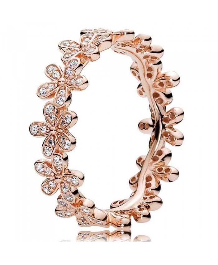 PANDORA Rose Gold Dazzling Daisy Cubic Zirconia Band Ring 180934CZ