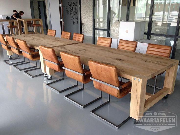 ZWAARTAFELEN I Massief balken eettafel als vergadertafel bij NutriSense www.zwaartafelen.nl