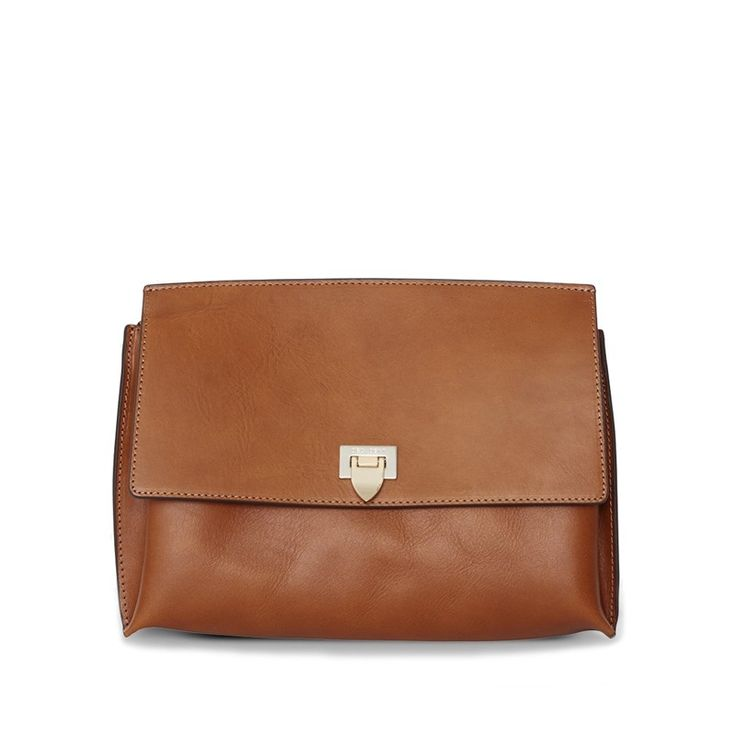 Decadent Big Hand Clutch W Buckle Cognac