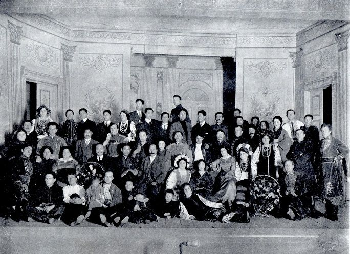 Actress Sumako Matsui's Party with the Russian Players at Vladivostok in 1915
