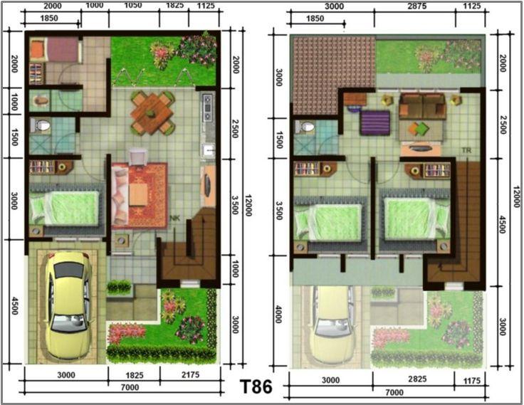 Gambar Contoh Denah Rumah Minimalis 2 Lantai Modern 2