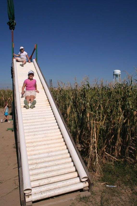 Roller slide, looks like mostly pvc pipe.