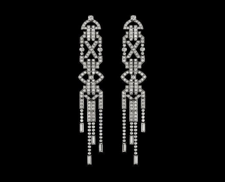 Ralph Lauren 867 Diamond Earrings ~ 18K white gold set with 722 brilliant-cut diamonds (~ 6.78 carats) and 8 baguette diamonds (~ 1.42 carats)