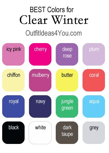 Here are your BEST colors if you are a clear winter. Visit http://OutfitIdeas4You.com for the complete clear winter color palette.