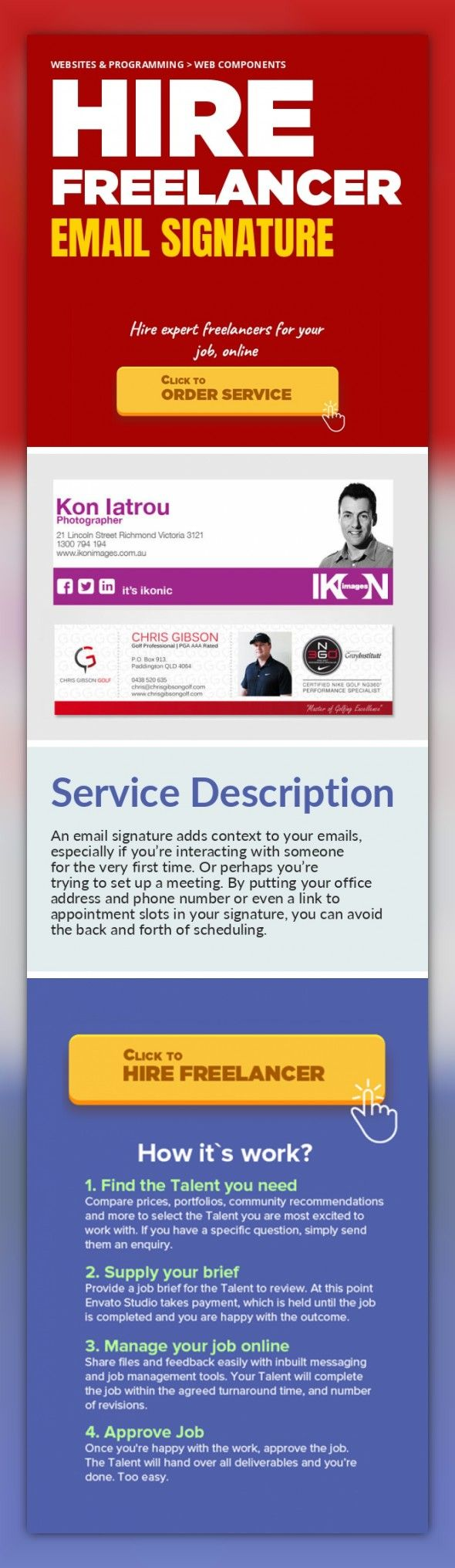 Email Signature Websites & Programming, Web Components   An email signature adds context to your emails, especially if you're interacting with someone for the very first time. Or perhaps you're trying to set up a meeting. By putting your office address and phone number or even a link to appointment slots in your signature, you can avoid the back and forth of scheduling.