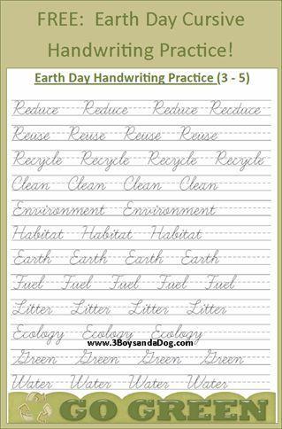 free earth day cursive handwriting practice #earthday