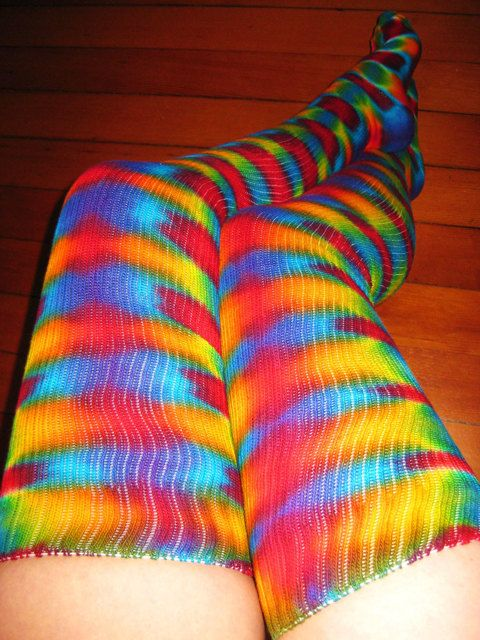 Tie Dye Psychedelic Thigh High Dance Socks  Hula by Wildflowerdyes, $26.00
