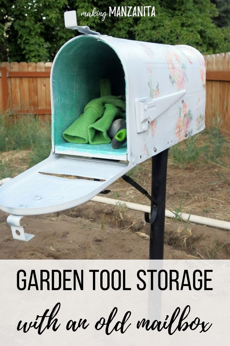 This garden tool storage from old mailbox not only provides storage, but it is cute with the floral design on the outside and a bright, colorful inside.
