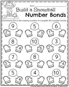 January Kindergarten number bonds addition worksheet.