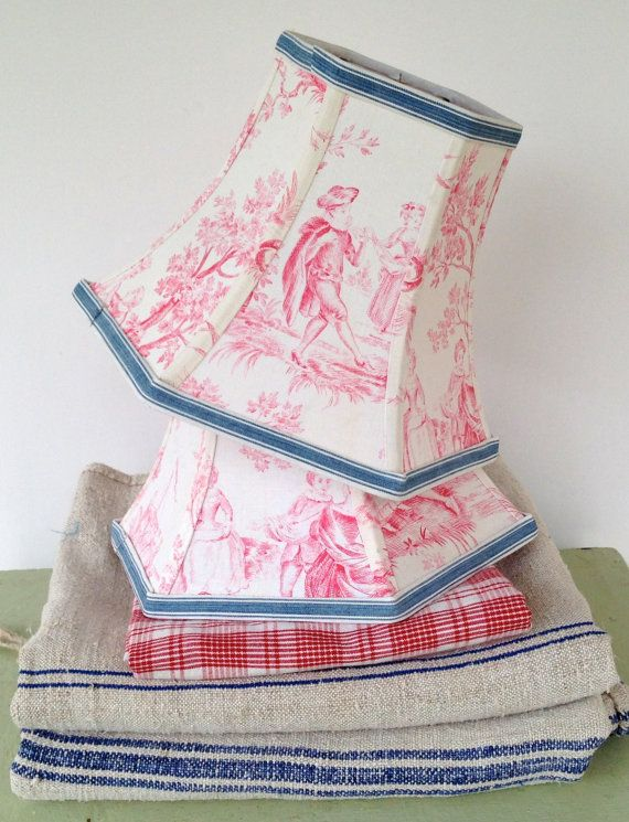 Pink Lamp Shade French Fabric Lampshade 5x10x7.5 by lampshadelady
