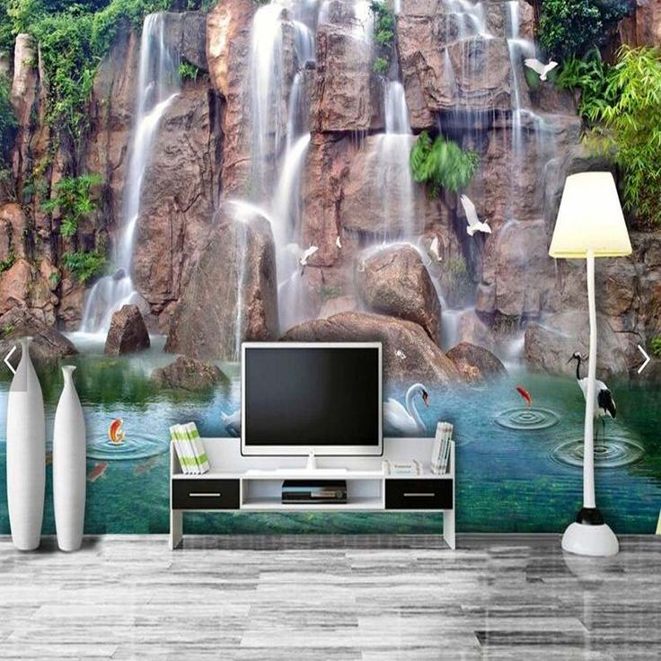 Find More Wallpapers Information About Waterfall Swan Murales Para Pared  Photo Murals Wallpaper Living Room Bedroom Part 86
