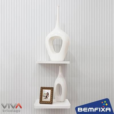 Prateleira Quadrada - Linha Formato VIVA Bricolage da Bemfixa. Com suportes invisíveis.