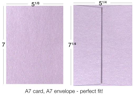 example of A7 card and A7 envelope size