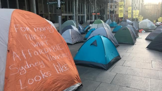 The Martin Place homeless camp has sparked a bitter war of words between the NSW Government and City of Sydney council. Picture: Benedict Brook.