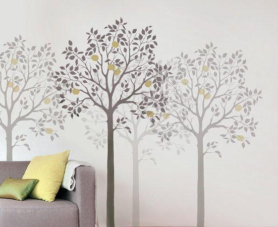 Large Fruit Tree Stencil - Reusable Wall Stencils for DIY Decor. $99.95, via Etsy.