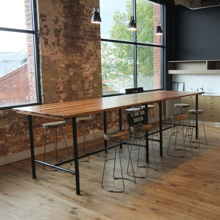 High bar break out table Recycled messmate timber top  Satin black powder coated gal pipe base  4500 x 1000 x 1050