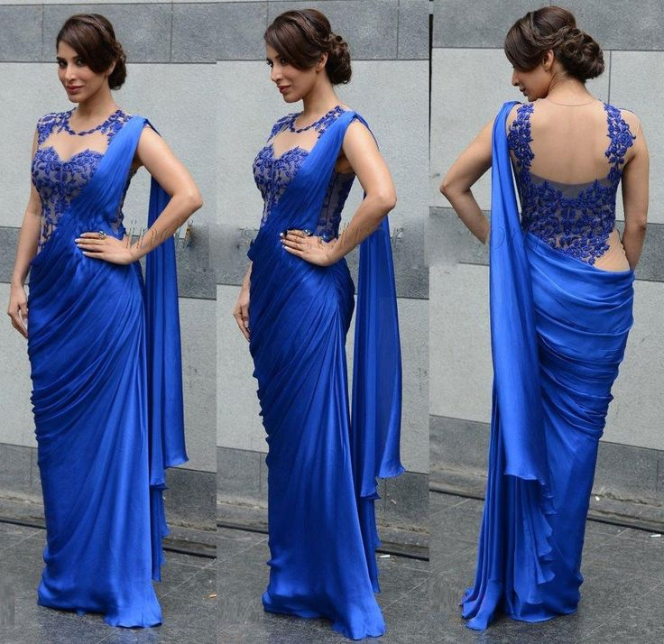 Sophie Choudry Silk Blue Plain Bollywood Style Saree - 344 at Rs 2486