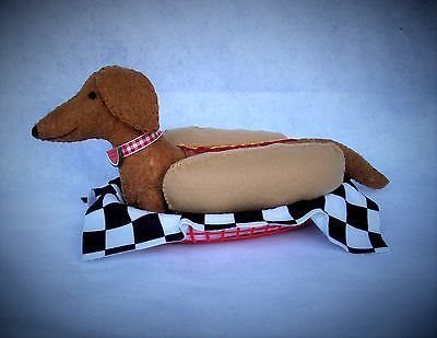 DACHSHUND RED BROWN WIENER IN A HOTDOG SUIT COSTUME TABLETOP FELT SCULPTURE