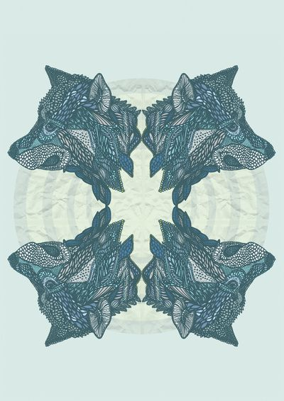 tiffany favrile glass Wolf Pack Art Print