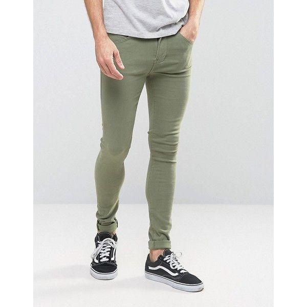 Dr Denim Leroy Super Skinny Jeans featuring polyvore, men's fashion, men's clothing, men's jeans, green, mens tall jeans, mens zipper jeans, mens super skinny jeans, mens green skinny jeans and mens green jeans