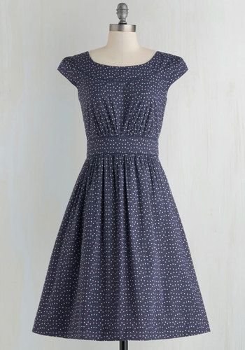 Casual summer 1940s polka dot day dress:Day After Day Dress in Blue Dots $94.99 AT vintagedancer.com