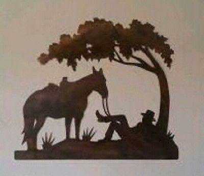 Rustic Cowboy and Horse under tree - Western Metal Wall Art Original Home Decor