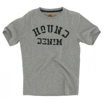 Hound - T-shirt ronde hals tekst grijs