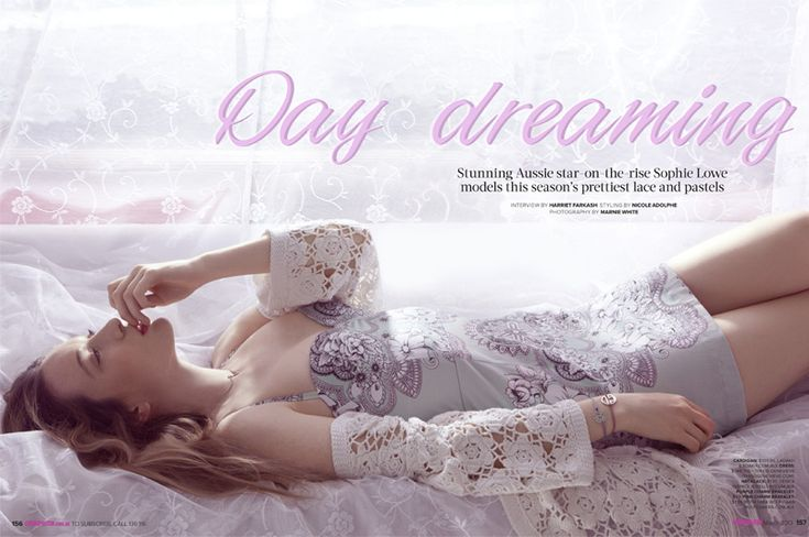 Amidst dream-like natural lighting and translucent fabric Sophie Lowe is in pastels and lace for Cosmopolitan Australia's March '13 Issue.