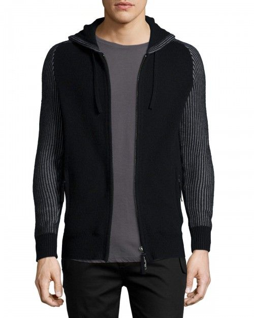 Helmut+Lang+Zip+Front+Hooded+Cashmere+Sweater+Black+|+Clothing