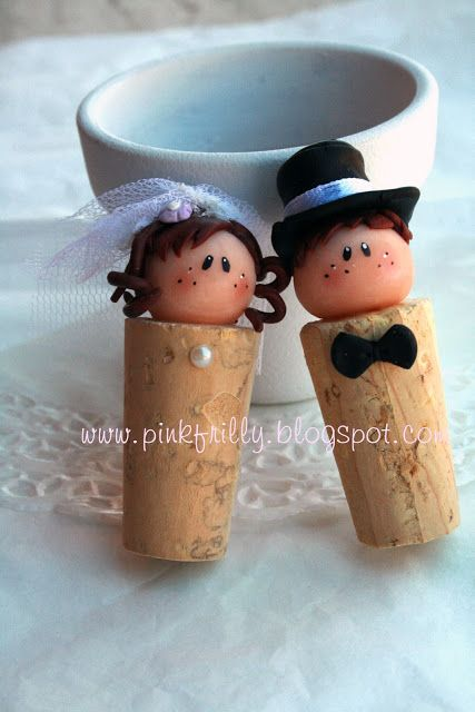 Pink Frilly: bride and groom wine corks
