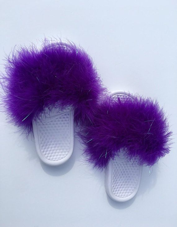 8df4cc79916eab Nike Fur Pearla Purple Fuzzy Fur Slides