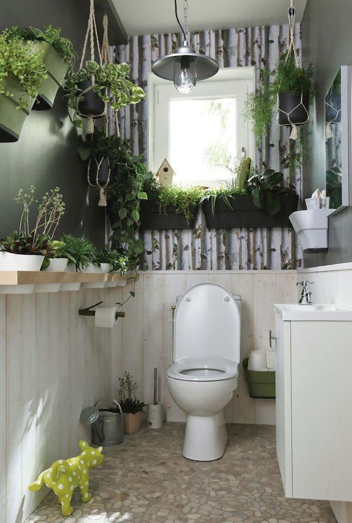 Captivant Deco Toilette Zen Nature Avec Plantes Et Tapisserie Imitation Foret Bouleaux