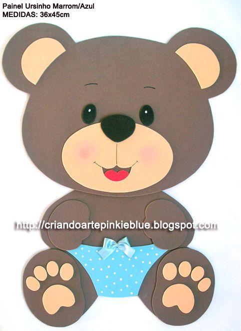 Pinkie Blue Artigos para festa: Painel Ursinho marrom e rosa/marrom e azul
