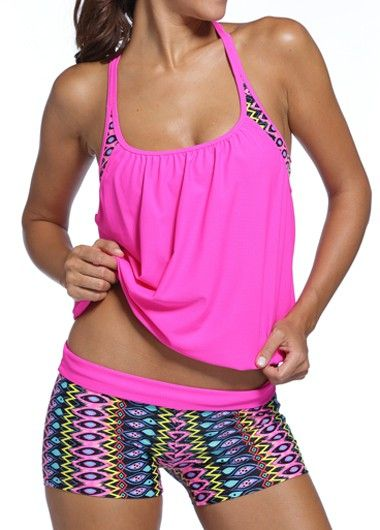 Hot Pink Double Up Tankini Swimsuit With Colorful Printed Boy Short Swim Bottom