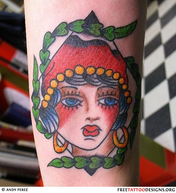 55 best old school tattoo images on pinterest tattoo for Sailor jerry gypsy tattoo