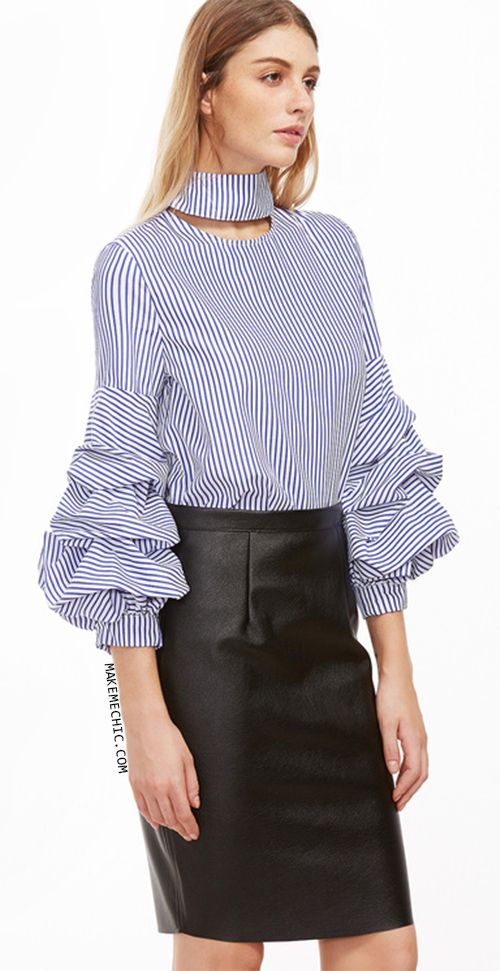 Blue Vertical Striped Cutout High Neck Billow Sleeve Blouse