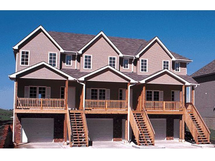 Multi family house plans triplexes townhouses the for Multi family building plans