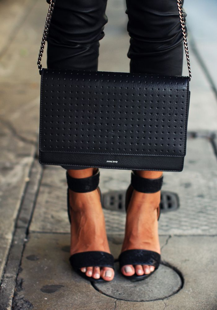 SINCERELY JULES Anine Bing Crossbody Bag +  GIVENCHY 'Lace and Leather' heels