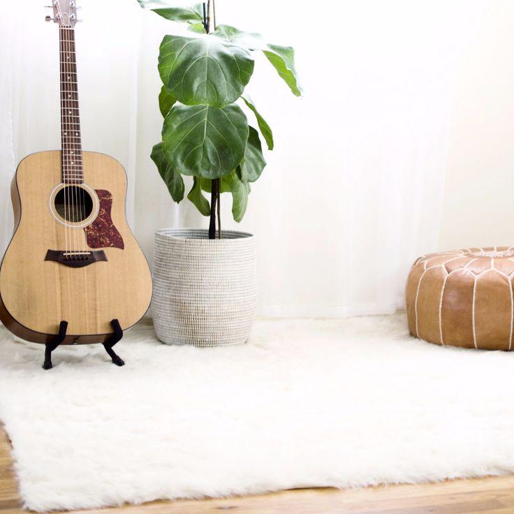 White shag rug for bedroom