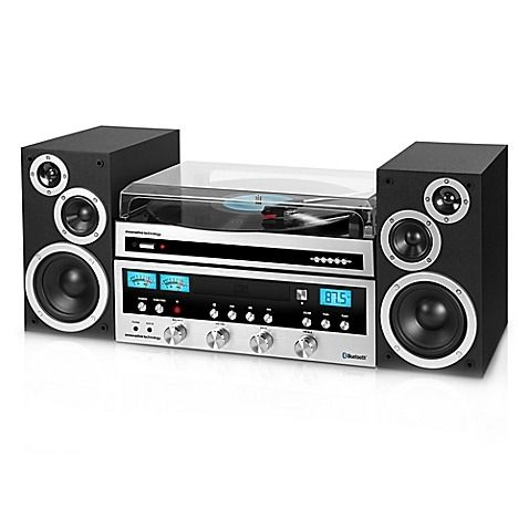 Not only can Dad blast his classic vinyl albums on the Innovative Technology Classic Retro Bluetooth® Stereo System with Turntable in Black and Silver, he can also play CDs, radio, and stream tunes from his phone. It's the ultimate solution for a music-lover.