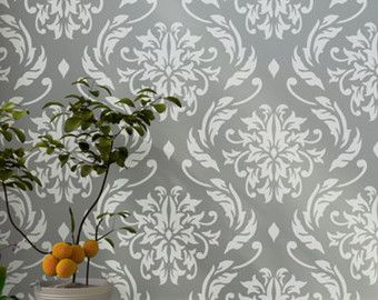 Flower Garden Damask wall stencil for DIY projects by StenCilit