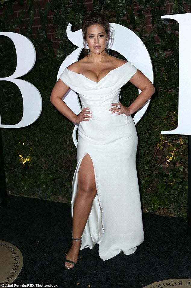 Wonder in white: Ashley Graham looked absolutely fantastic as she arrived for the Business Of Fashion 500 Gala on Saturday night