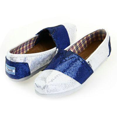 Toms Glitter Women Shoes Blue Silver